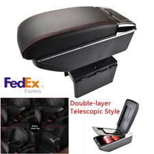Universal Double-layer Telescopic Style Car Central Armrest Box with Cup Holder