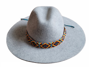 Western Seed Beaded Hat Band Fit Cowboy Hatband Eye Catcher Blue Hat Band