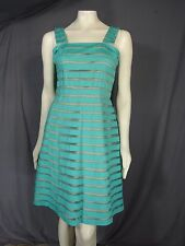 Adrianna Papell sleeveless Burnout Stripe Lace Dress Aqua Blue Size 16