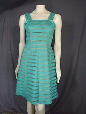 Adrianna Papell sleeveless Burnout Stripe Lace Dress Aqua Blue Size 16