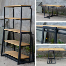 Transformable Shelf and Table Industrial metal Shelves Natural Wood