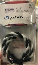 "Phiten MLB Tornado Titanium necklace 18"" Black/White Baseball Brand New BNIB"