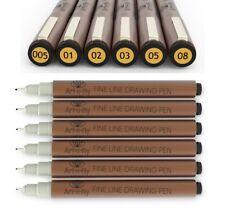 Fine Tip Inking Sepia Pens for Drawing Archival Ink Pen Multiliner Fineliner Ske