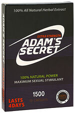 Adam's Secret Male Enhancement Pills Men Sexual Performance Enhancer 1500 10pill
