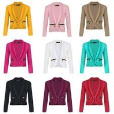 Girls Zip Pocket Jacket Long Sleeve Open Front Kids Blazer Cardigan Top 3-14