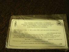 1969 OLDSMOBILE 442 4-4-2 400 4BBL MANUAL TRANSMISSION ENGINE EMISSIONS DECAL