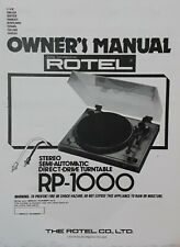 Rotel RP-1000 Stereo Semi Automatic Turntable Operating Instruction  USER MANUAL