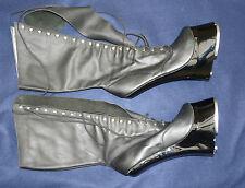"""Extreme 10"""" Talon Bottes Noires Acier Cuir Caoutchouc Chaussures UK 10 Cost £ 500 Allemagne"""