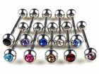10pcs Lots Mixed Logo Ball Tongue Bars Rings Barbell Piercing Stainless Steel