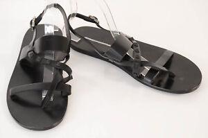 Valentino black 9 42 leather signature rockstud logo trim sandal shoe NEW $945