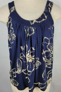 Express Womens Medium Stretch Blue Tan Flower Soft Pleated Wide Strap Tank Top