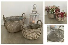 2 Grey Wash Wicker Basket Plastic Lined Plant Container French County Storage