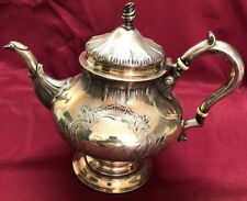 ANTIQUE STERLING SILVER GEORGE II PERIOD TEAPOT HAND CHASED1168 GRAMS NO MONOGRA
