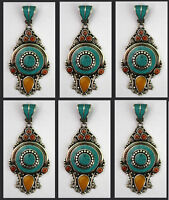 LOT OF 6 wholesale Sterling Silver Ethnic Turquoise Tribal Pendant Necklace P90