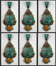 Asian LOT OF 6 wholesale Sterling Silver Turquoise Tribal Pendant Necklace P90