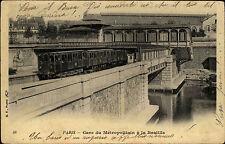 Eisenbahn & Bahnhof ~1900 Paris Gare du Métropolitain Bastille Metro Carte Post.