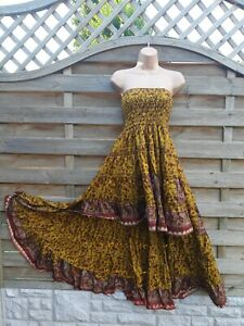 High Low Silk Blend Recycled Sari Summer Skirt Dress Waterfall Beachwear Holiday