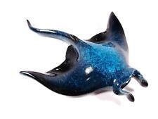 NAUTICAL BLUE MANTA RAY SEA LIFE ANIMAL DECORATIVE ARTWORK TABLE STATUE FIGURINE