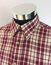 David Taylor Men's Large Shirt Long Sleeve Button Down Collar Maroon Plaid (A52)