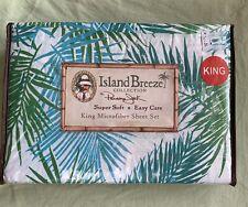 NeW Panama Jack Island Breeze King Sheet Microfiber Set Tropical ~ Frond Palm