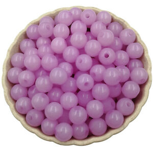 40Pcs 8mm Acrylic Beads DIY Findings Jelly Color Jewelry Accessories Pendant