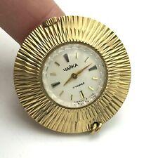 Oro Placcato Ciondolo Orologio Chaika Soviet 18k Meccanico Vintage da Servizio