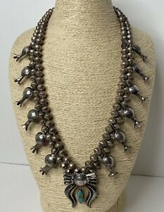 Vintage Navajo Sterling Silver Mercury Dime Squash Blossom Necklace