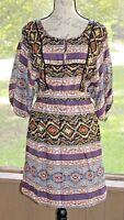 Jessica Simpson Size Medium Multi Colored Floral Peasant Dress Short Sleeve BR