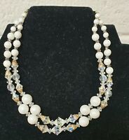 Vintage Double Strand Faux Pearl And Aura Borealis Bead Necklace Choker