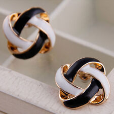 Women Girls Lady Black and White Rotating Hollow Earrings Ear Studs Gift