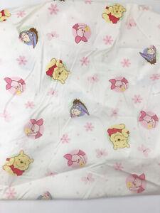 Disney's Winnie The Pooh Piglet Eeyore Fitted Crib Toddler Sheet Pink Flowers