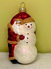 Patricia Breen Friends Red Santa Glitter Snowman Glass 2000 #2016 Ornament