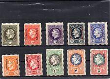 Montenegro 1913 zehn nicht verausgabte postfrische Werte, Rarität