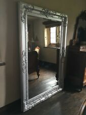 CHATEAU SILVER ORNATE OVERMANTLE FRENCH BEVELLED WOOD MIRROR WALL 5FT x 4FT