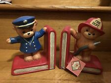 1985 Enesco Lucy & Me Porcelain Bisque Teddy Bear Police & Firefighter Book Ends