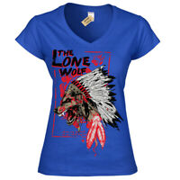 The lone wolf T-Shirt chieftan indian headress Womens Ladies V-Neck