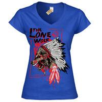 The lone wolf T-Shirt chieftan indian headress Womens Ladies V-Neck