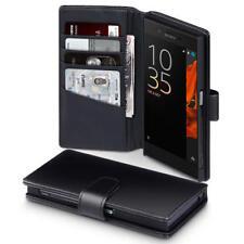 Lusso Vero Genuino Custodia in Pelle Portafoglio per Sony Xperia XZ/xzs-Nero