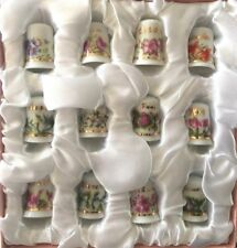 Thimble Boxed Collection Of 12 Month Porcelain Thimbles with Floral Design Uk