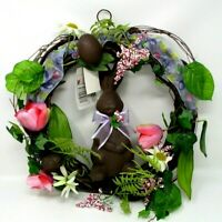 """Easter Wreath Chocolate Bunny and Eggs 14"""""""