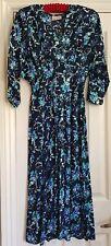 Vintage 40s style blue floral midi tea dress small medium