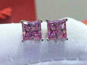 4Ct Princess Cut Sapphire Push Back Solitaire Stud Earrings 14K White Gold Over