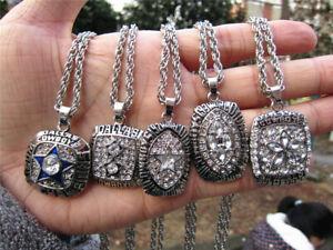 5PCS Dallas cowboys American Football TEAM Ring Pendant Necklace Fan Gift