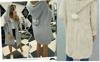 Women's Ladies Knitted Hooded Pom Pom Long Cardigan Jacket Top 8-16 UK Size