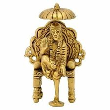Brass Antique Shirdi Sai Baba Statue Sitting on a throne~For Prosperity & Wealth