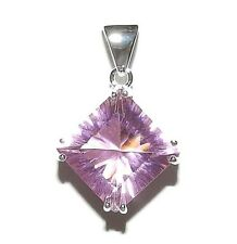 P1571 Pink Topaz .925 Sterling Silver 30mm Faceted Diamond Cystal Pendant 1pc