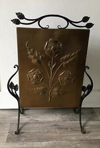 Vintage Antique Copper Rose Arts & Crafts Art Nouveau Flower Fire Guard Screen