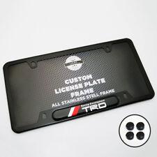 Black Stainless Steel Front Rear Emblem License Plate Frame Cover Gift - TRD