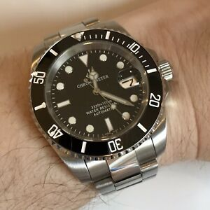 MENS AUTOMATIC WATCH GIV BLACK SUBMARINER DIVERS SAPPHIRE CERAMIC NH35 S STEEL