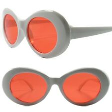 Classic Retro 80s 90s Fashion Indie Mens Womens Pink Lens White Oval Sunglasses